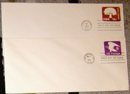 USA 2 First Day Cancelled Postal Stationery Covers - Postal Stationery