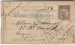 RARE CARTE PNEUMATIQUE VERSEE AU REBUT ... 1894 , !!!!!!! - Marcophilie (Lettres)