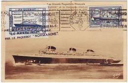 PAQUEBOT NORMANDIE , Voyage Inaugural 1935 , AVEC CERTIFICAT !!!!! RARE AINSI , Carte , Lettre - Poststempel (Briefe)
