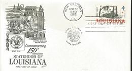 J) 1962 UNITED STATES, MASONIC GRAND LODGE, COMMEMORATION 150th ANNIVERSARY STATUTE HOOD OF LOUISIANA, FDC - United States