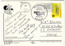 PAQUEBOT NORWAY ( LE FRANCE ) Carte Postee En Mer NASSAU , PORTO RICO , ILES VIERGES , ... Lettre - 1877-1920: Semi Modern Period