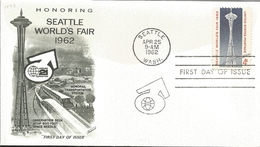 J) 1962 UNITED STATES, HONORING SEATTLE WORLD'S FAIR, MONORAIL TRANSPORTATION SYSTEM, OBSERVATION DECK ATOP 600 FOOT SPA - United States