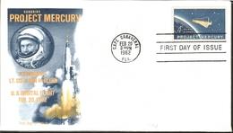 J) 1962 UNITED STATES, MASONIC GRAND LODGE, HONORING PROJECT MERCURY, ASTRONAUT LT COL JOHN H GLENN, US ORBITAL FLIGHT F - United States