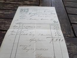 Huy Facture  Henquinez ,patisserie En 1894 - Belgique