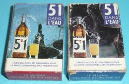 Rare Lot De 2 Petits Jeux De 54 Cartes, Jeu Publicitaire, Pub. Pastis 51, 1 Bleu & 1 Rouge - Non Classés