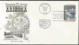 J) 1962 UNITED STATES, MASONIC GRAND LODGE, COMMEMORATING 50th ANNIVERSARY STATEHOOD ARIZONA, STATE SEMI-CENTENNIAL, TER - United States