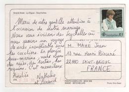 Timbre Lady Diana Sur Cp , Carte , Postcard Pour La France - Seychelles (1976-...)
