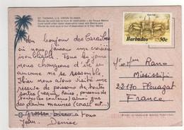 """Timbre Crabe : """" Ghost Crab """" De 1997 Sur Cp , Carte , Postcard Pour La France - Barbades (1966-...)"""