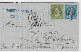 1871. LAC De Sept. 1871 - Affie N°46 & N°20 - Sup. - De Troyes (AUBE) à L'YONNE - 8Sept. 1871 - Postmark Collection (Covers)