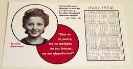 Ancien Calendrier Avec L'image De Teresita Albarracín, Année 1974, Old Calendar With The Image Of Teresita Albarracín - Calendarios