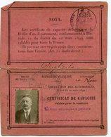 Carte Photo Identité Certificat De Capacité Circulation Automobile Pétrole Voiture Permis De Conduire 1919 RARE Lyon - Documentos Históricos