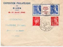LETTRE AFFRANCHIE INTER PANNEAU TYPE MERCURE N°407 +N°412 + N°514-CACHET JOURNEE DU TIMBRE DIJON 1942 - Postmark Collection (Covers)
