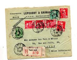 Lettre Recommandée Trouville Sur Mer Sur Gandon Ceres Entete Charbon Lepeudry - Postmark Collection (Covers)