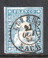 Zwitserland Helvetia 14. C   Used  Bernerdruk - 1854-1862 Helvetia (Ungezähnt)