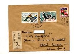 Lettre Recommandée Paris 68 Sur Oiseau - Postmark Collection (Covers)