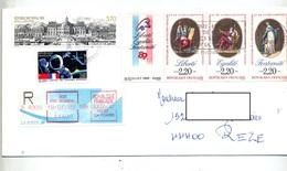 Lettre Recommandée Reze Sur Declaration Droit Homme Vignette Vaux Flamme Foire Recepisse Illustré - Postmark Collection (Covers)