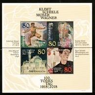 """Österreich 2018: Block """"100.Todestag Klimt/Schiele/Moser/Wagner"""" Postfrisch - Briefmarken"""