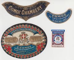 ET  013 / Ancienne étiquette VERMOUTH  DE  CHAMBERY  / Par : C . COMOZ  , CHAMBERY  ( 73 ) Savoie +étiquettes Pour Col - Autres