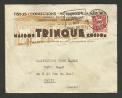 """GERS / Daguin CONDOM / Enveloppe Commerciale """" Maison TRINQUE - Tissus & Vetements / Gandon 1949 - Marcophilie (Lettres)"""
