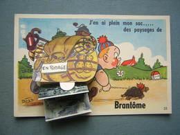 CARTE SYSTEME PHOTOS - BRANTOME - MARCHEUR AVEC TORTUE - Brantome