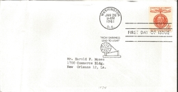 J) 1961 UNITED STATES, MASONIC GRAND LODGE, CHAMION OF LIBERTY, MAHATMA GANDHI, FROM DARKNESS LEAD TO LIGHT, FDC - United States