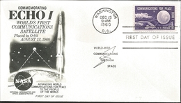 J) 1960 UNITED STATES, MASONIC GRAND LODGE, COMMEMORATING ECHO I WORLD'S FIRST COMMUNICATIONS SATELLITE PLACED IN ORBIT - United States