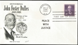 J) 1960 UNITED STATES, MASONIC GRAND LODGE, HONORING JOHN FOSTER DULLES, 1888-1959, SECRETARY OF STATE USA, FIGHTER FOR - United States