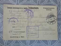 LETTRE MILITARIA CORRESPONDANCE CAMP DE PRISONNIER QUEDLINBURG  GUERRE 14 18 - Vieux Papiers