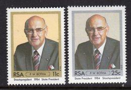 SOUTH AFRICA - 1984 BOTHA SET (2V) FINE MOUNTED MINT MM * SG 570-571 - South Africa (1961-...)