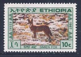 Ethiopia, Scott # 1179 Unused No Gum  Simian Fox, 1987 - Ethiopia