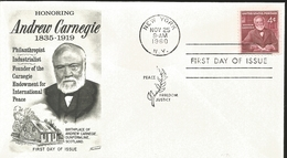 J) 1960 UNITED STATES, MASONIC GRAND LODGE, HONORING ANDREW CARNEGIE 1835-1919, PHILANTROPIST, INDUSTRIALIST, FOUNDER OF - Vereinigte Staaten