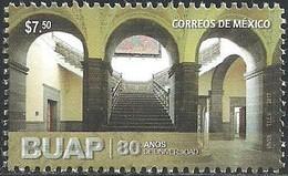 2017 MÉXICO 80 Años  Creación De Benemérita Universidad Autónoma De Puebla MNH,  UNIVERSITY, ARCHITECTURE, STAIRS - Mexique