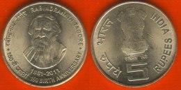 "India 5 Rupees 2010 Km#new ""Rabindranath Tagore"" - India"