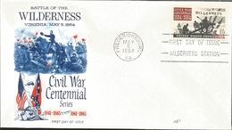J) 1964 UNITED STATES, MASONIC GRAND LODGE, BATTLE OF THE WILDERNESS, CIVIL WAR CENTENNIAL SERIES, FDC - Vereinigte Staaten