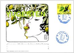 ALGERIA 2014 Philatelic Cover Olives Huile D'olive Olive Oil Aceite De Oliva Olivenöl Olio D'oliva Milo Manara - Levensmiddelen
