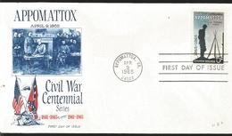 J) 1965 UNITED STATES, MASONIC GRAND LODGE, APPOMATTOX, CIVIL WAR CENTENNIAL SERIES, WITH MALICE TOWARD NONE, FDC - Vereinigte Staaten