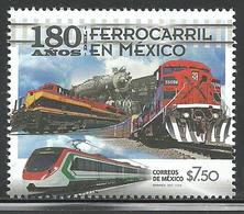 2017 180 Años Del Ferrocarril En México, STAMP MNH, 180 Years Of The Railroad In Mexico TRAIN, LOCOMOTIVES - Mexique