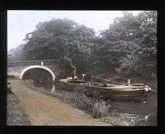 TRANSPORTATION Working Barge On The CANAL England C.1900s - Tinted Magic Lantern Slide (lanterne Magique) - Plaques De Verre