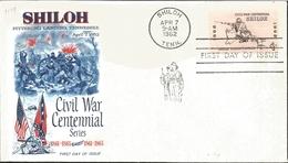J) 1962 UNITED STATES, MASONIC GRAND LODGE, SHILOH PITTSBURG LANDING TENNESSEE, CIVIL WAR CENTENNIAL SERIES, FDC - Vereinigte Staaten