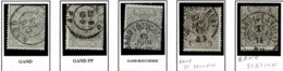 +MW-4327   GAND+GANDPP+GAND BOUCHERIE+GAND ST SAUVEUR +GAND STATION  Dubbel Cirkel  OCB  23 - 1866-1867 Petit Lion