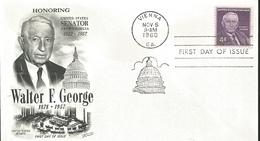J) 1960 UNITED STATES, MASONIC GRAND LODGE, HONORING USA SENATOR FROM GEORGIA, WALTER F GEORGE, SENATE, FDC - Vereinigte Staaten