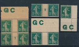 CX-251: FRANCE: Lot Avec N° 137 Mill 7 Mancette GC*(1 Tache Adh)-mill9**- Paire GC**-137* - 1906-38 Sower - Cameo
