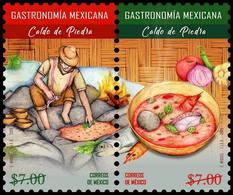 2018 MÉXICO GASTRONOMÍA MEXICANA - CALDO DE PIEDRA, MNH OAXACAN STONE SOUP PREHISPANIC FOOD STAMP SET MNH - Mexico