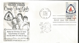 J) 1960 UNITED STATES, MASONIC GRAND LODGE, COMMEMORATING THE GOLDEN JUBILEE CAMP FIRE GIRLS, WORSHIP GOD, SEEK BEAUTY, - United States