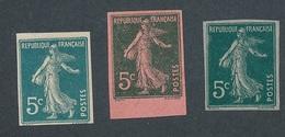 CX-254: FRANCE: Lot Avec N° 137f* + 2 Essais De Couleur (NSG) - 1906-38 Sower - Cameo