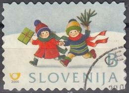 Slovenija 2000 Michel 330 O Cote (2006) 0.30 Euro Noël Enfants Dans La Neige Avec Cadeau Cachet Rond - Slovénie