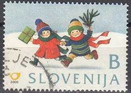 Slovenija 2000 Michel 328 O Cote (2006) 0.30 Euro Noël Enfants Dans La Neige Avec Cadeau Cachet Rond - Slovénie