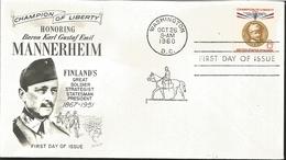 J) 1960 UNITED STATES, MASONIC GRAND LODGE, CHAMPION OF LIBERTY HONORING BARON KARL GUSTAF EMIL MANNERHEIM, FINLAND'S GR - Vereinigte Staaten