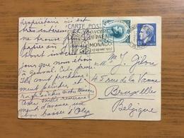 Entier Postal De Monte-Carlo  Vers Bruxelles Avec YT 425A En Complément Affranchissement - Monaco