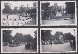 Photo Ensemble 4 Snapshot 22 Août 1937 Paris Plage (Le Touquet) Fête Des Fleurs Chars Festivités 9x6 Cm Pas-de-Calais 62 - Lieux